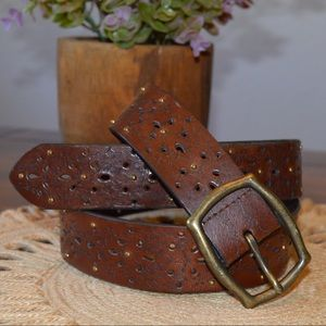 Accessories - Brown Leather Belt | Cut-out & Stud Embellished